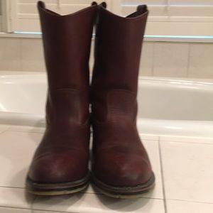 Men's brown leather double H cowboy boots 12